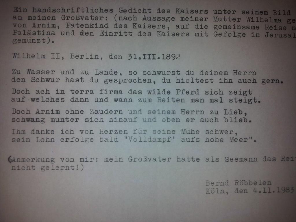 Et digt forfattet personligt af Kejseren af Tyskland, Wilhelm II til min tipoldefar.