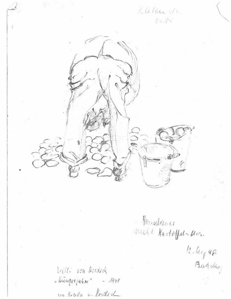 Et portræt af min oldefar med titlen Hungerjahre (Sultår). Tegnet af min mormor i 1948