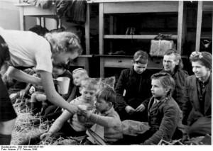 Tyske flygtninge i det tyskvenlige Aabenraa (Fra Bundesarchiv: Bundesarchiv_Bild_183-1990-0927-501_Danemark_deutsche_Fluchtlinge)
