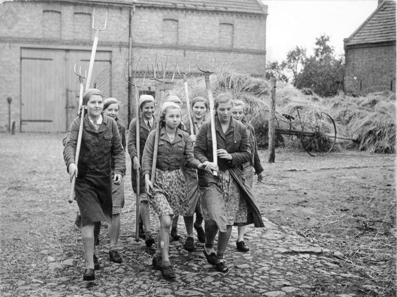 Piger fra Bund deutscher Mädel er sendt i arbejdstjeneste i landbruget. Billedet er fra 1939.