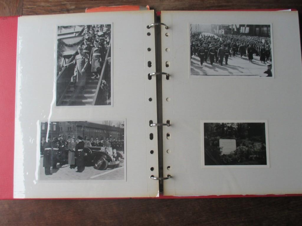 De tre utrolige billeder: Øverst til højre går oldefar ved siden af Hitler, nedenunder hilser min oldefar på Hitler og øverst i venstre hjørne går oldefar lige til venstre for Hitler. Nederst til højre er familiens gravsten i Berlin.